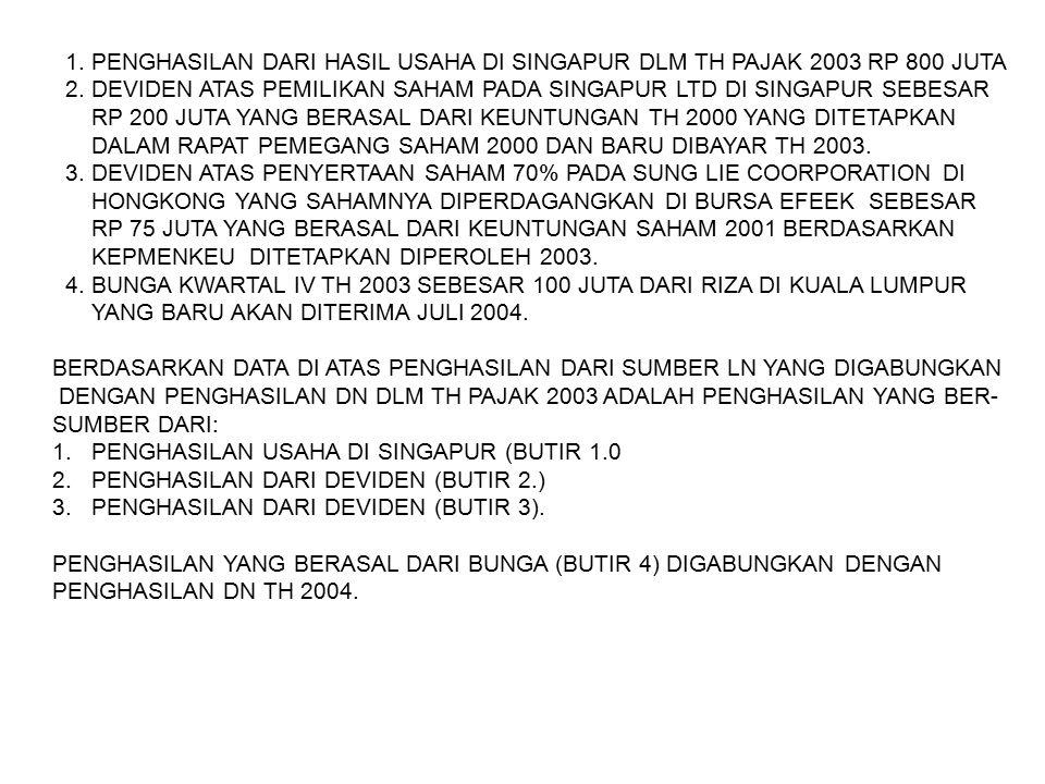 1. PENGHASILAN DARI HASIL USAHA DI SINGAPUR DLM TH PAJAK 2003 RP 800 JUTA