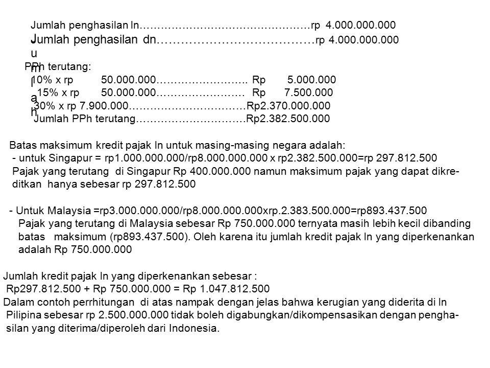 Jumlah penghasilan ln…………………………………………rp 4.000.000.000