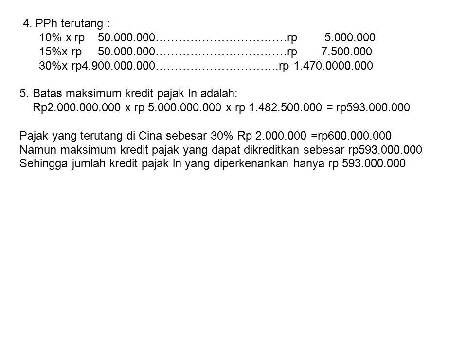 4. PPh terutang : 10% x rp 50.000.000…………………………….rp 5.000.000. 15%x rp 50.000.000…………………………….rp 7.500.000.