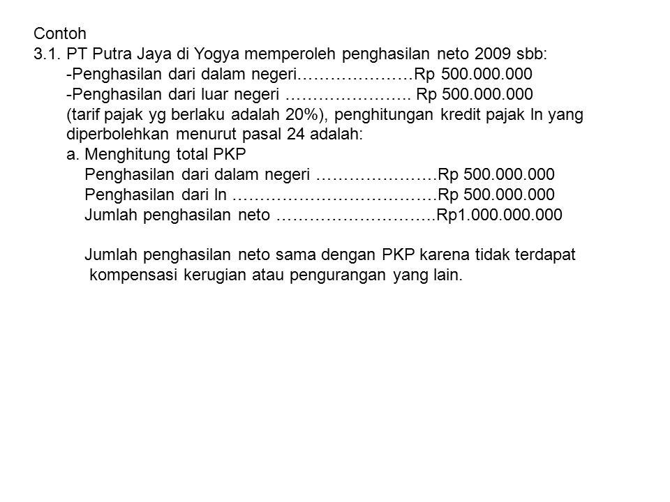 Contoh 3.1. PT Putra Jaya di Yogya memperoleh penghasilan neto 2009 sbb: -Penghasilan dari dalam negeri…………………Rp 500.000.000.
