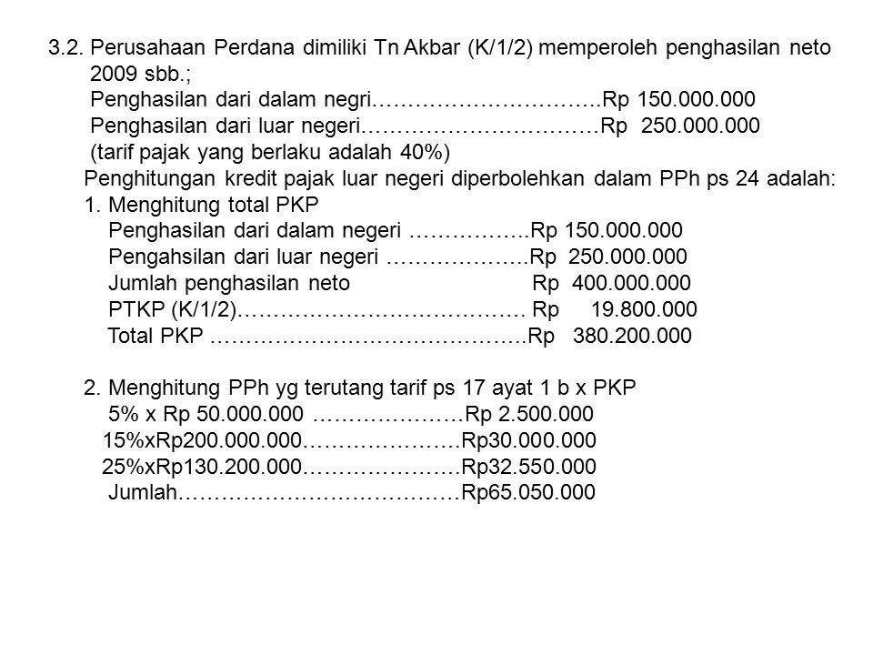 2009 sbb.; Penghasilan dari dalam negri…………………………..Rp 150.000.000