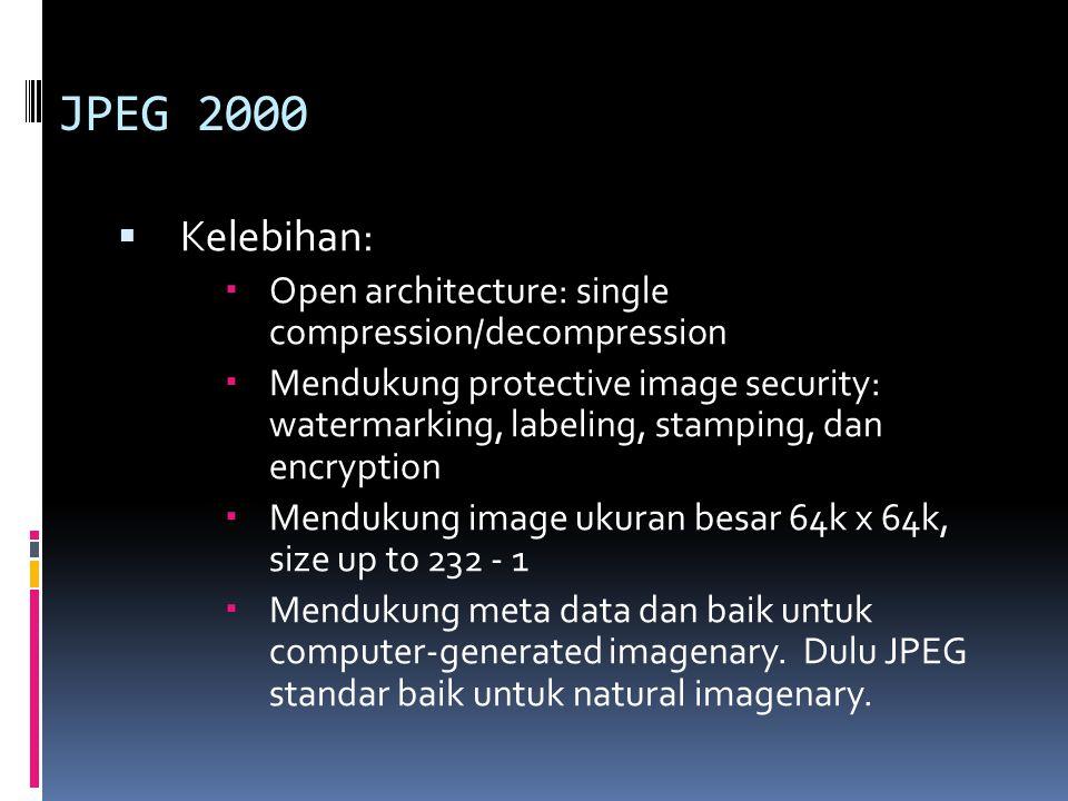 JPEG 2000 Kelebihan: Open architecture: single compression/decompression.