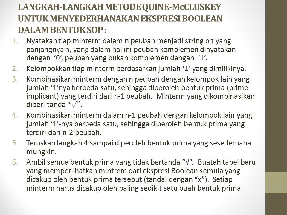 LANGKAH-LANGKAH METODE QUINE-McCLUSKEY UNTUK MENYEDERHANAKAN EKSPRESI BOOLEAN DALAM BENTUK SOP :