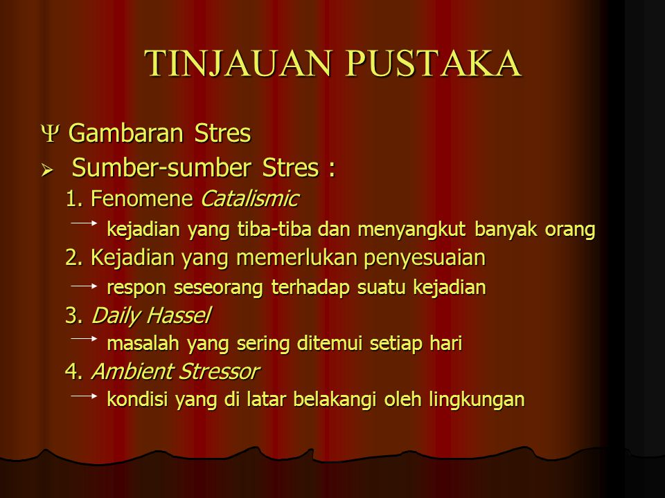 TINJAUAN PUSTAKA  Gambaran Stres Sumber-sumber Stres :