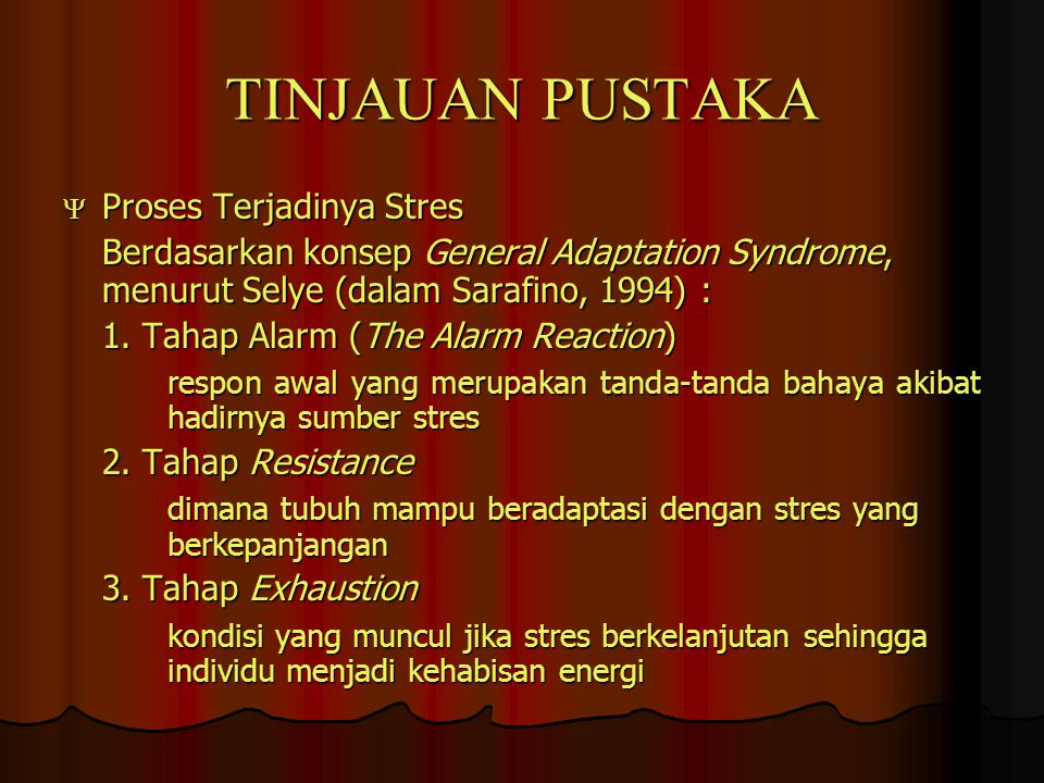 TINJAUAN PUSTAKA Proses Terjadinya Stres