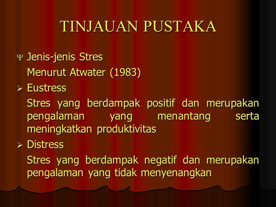 TINJAUAN PUSTAKA Jenis-jenis Stres Menurut Atwater (1983) Eustress