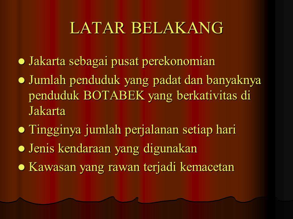LATAR BELAKANG Jakarta sebagai pusat perekonomian