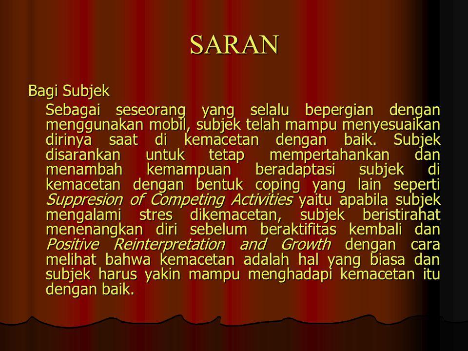 SARAN Bagi Subjek.