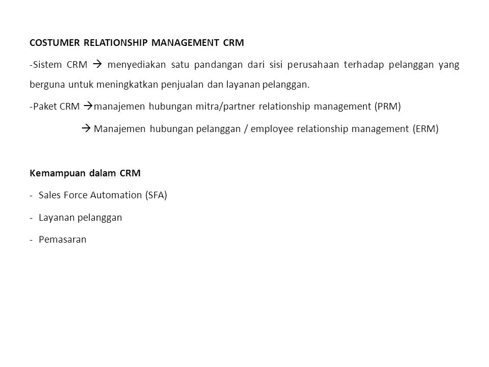 COSTUMER RELATIONSHIP MANAGEMENT CRM