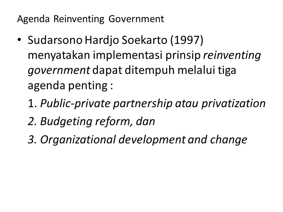 Agenda Reinventing Government