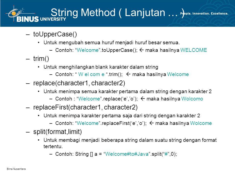 String Method ( Lanjutan … )