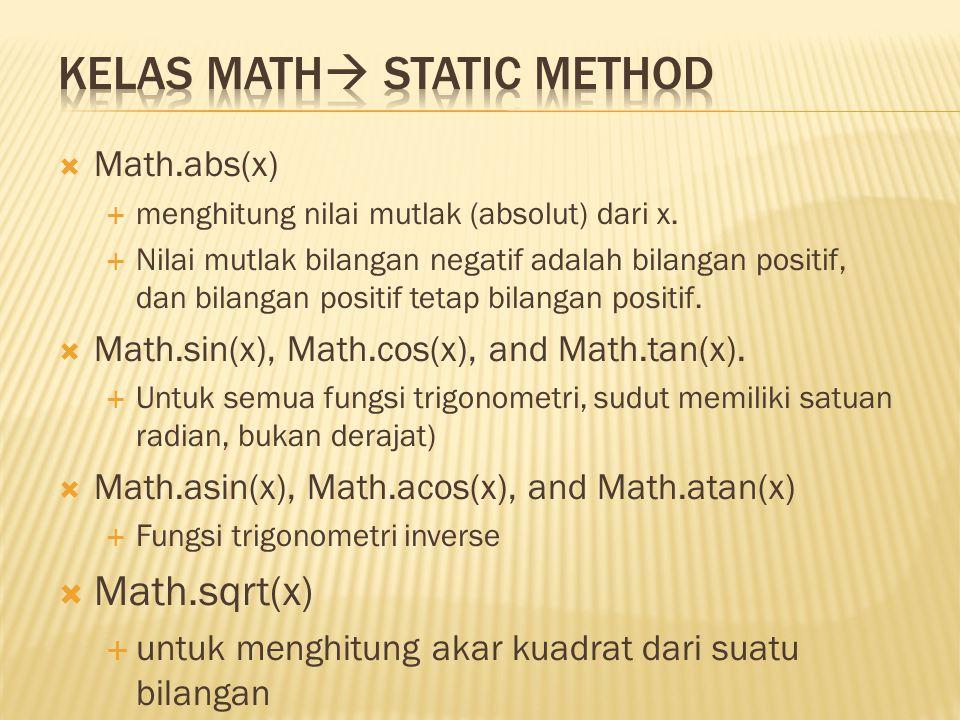 Kelas Math Static Method