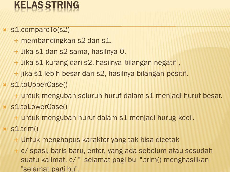 Kelas String s1.compareTo(s2) membandingkan s2 dan s1.