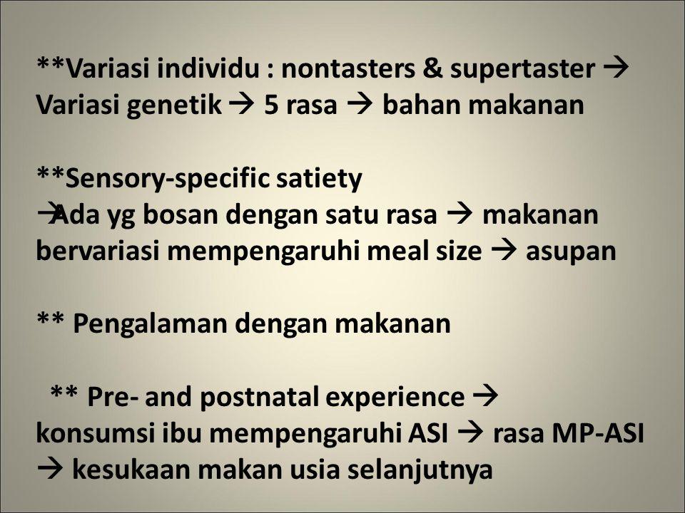 **Variasi individu : nontasters & supertaster 