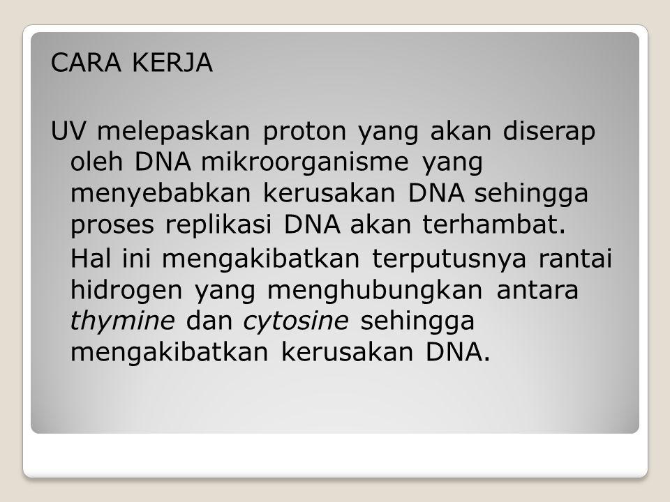 CARA KERJA UV melepaskan proton yang akan diserap oleh DNA mikroorganisme yang menyebabkan kerusakan DNA sehingga proses replikasi DNA akan terhambat.