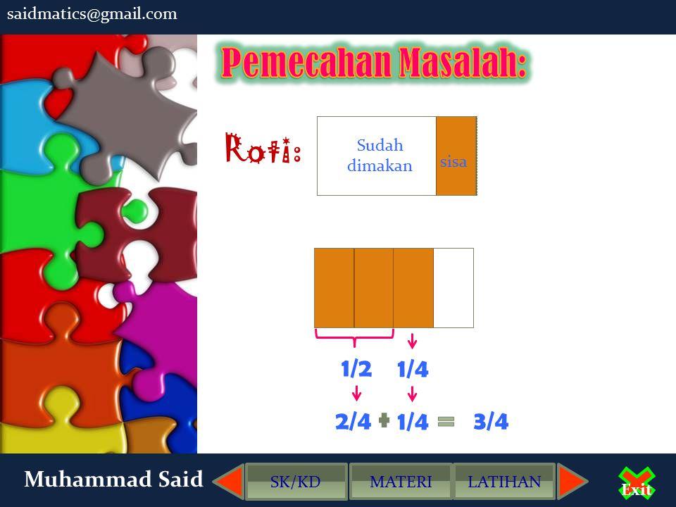 Pemecahan Masalah: Roti: 1/2 1/4 2/4 1/4 3/4 Muhammad Said