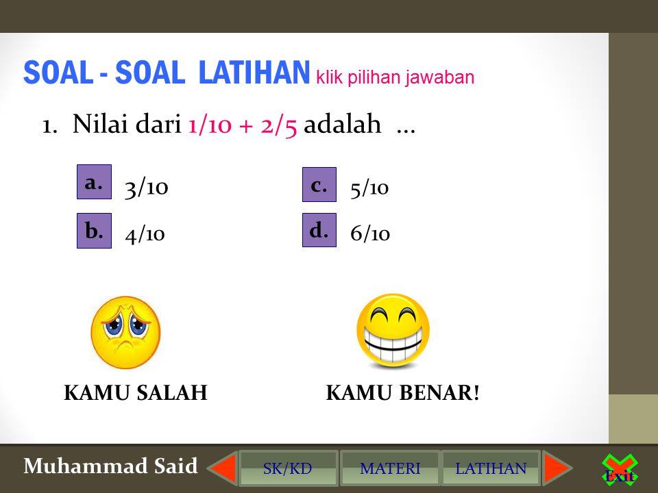 SOAL - SOAL LATIHAN klik pilihan jawaban