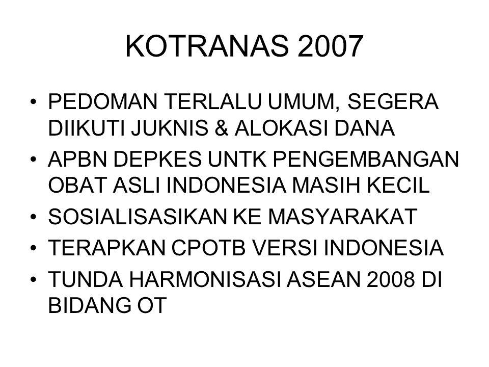 KOTRANAS 2007 PEDOMAN TERLALU UMUM, SEGERA DIIKUTI JUKNIS & ALOKASI DANA. APBN DEPKES UNTK PENGEMBANGAN OBAT ASLI INDONESIA MASIH KECIL.