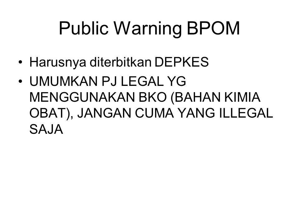 Public Warning BPOM Harusnya diterbitkan DEPKES