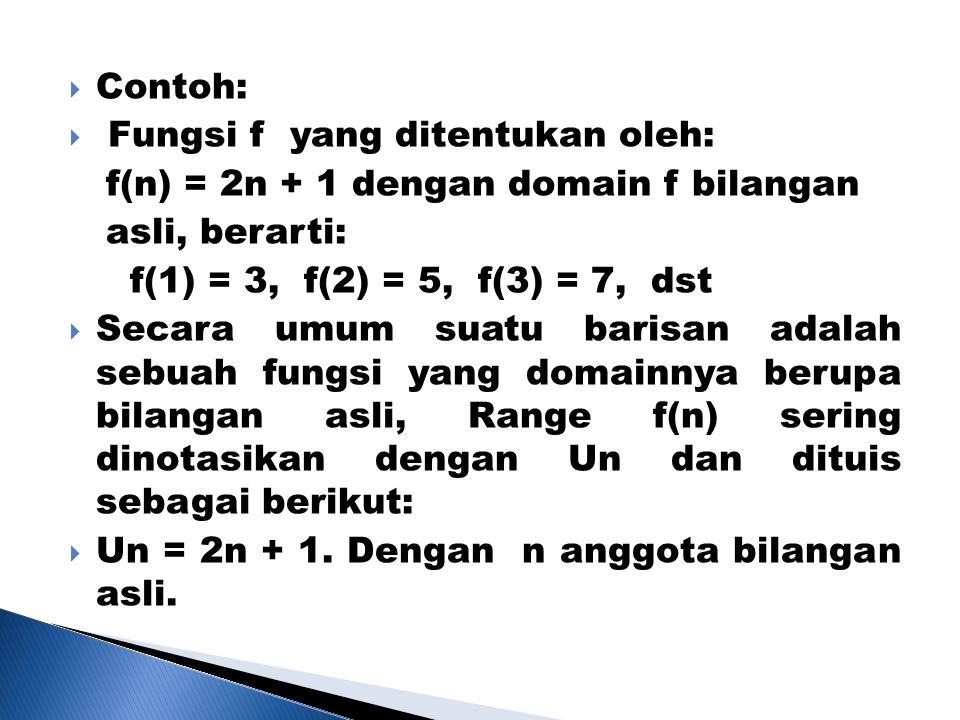 Contoh: Fungsi f yang ditentukan oleh: f(n) = 2n + 1 dengan domain f bilangan. asli, berarti: f(1) = 3, f(2) = 5, f(3) = 7, dst.