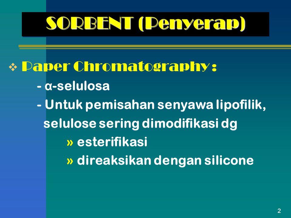 SORBENT (Penyerap) Paper Chromatography : - α-selulosa