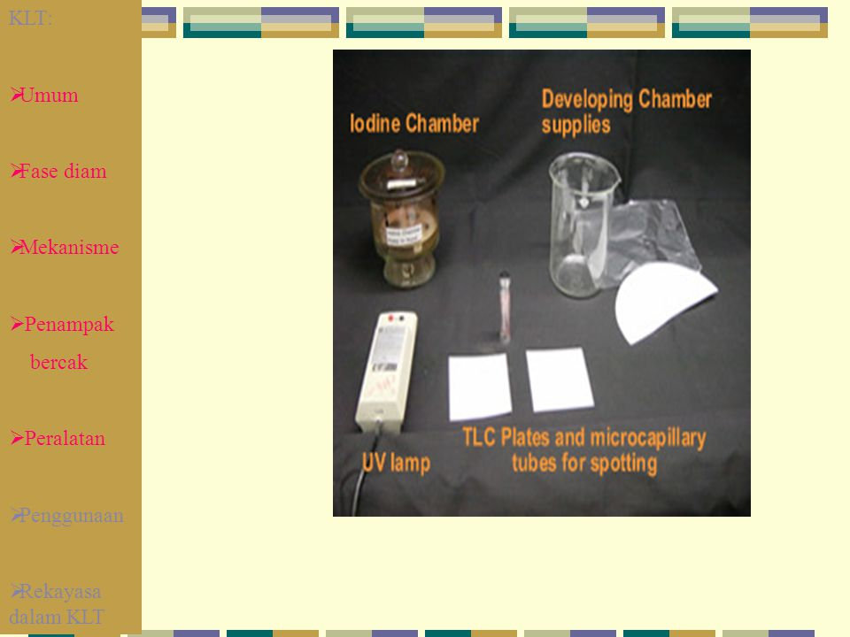 KLT: Umum Fase diam Mekanisme Penampak bercak Peralatan Penggunaan Rekayasa dalam KLT