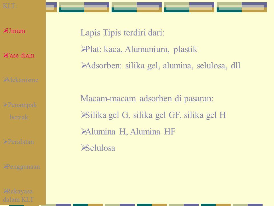 Lapis Tipis terdiri dari: Plat: kaca, Alumunium, plastik