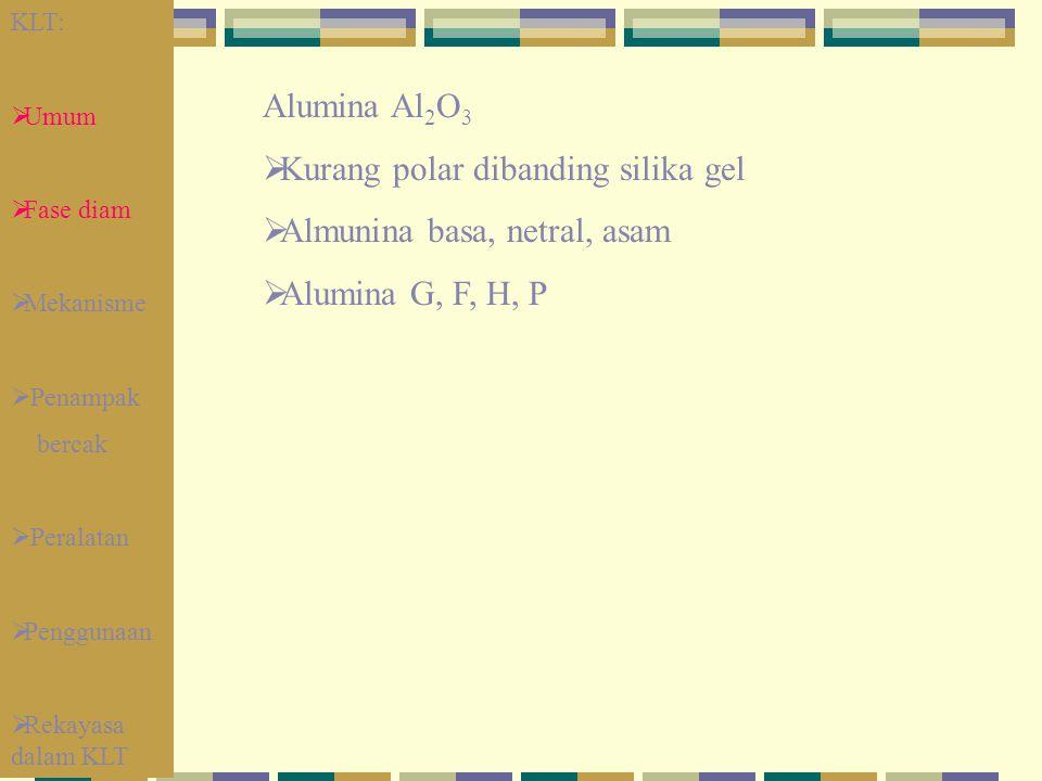 Kurang polar dibanding silika gel Almunina basa, netral, asam
