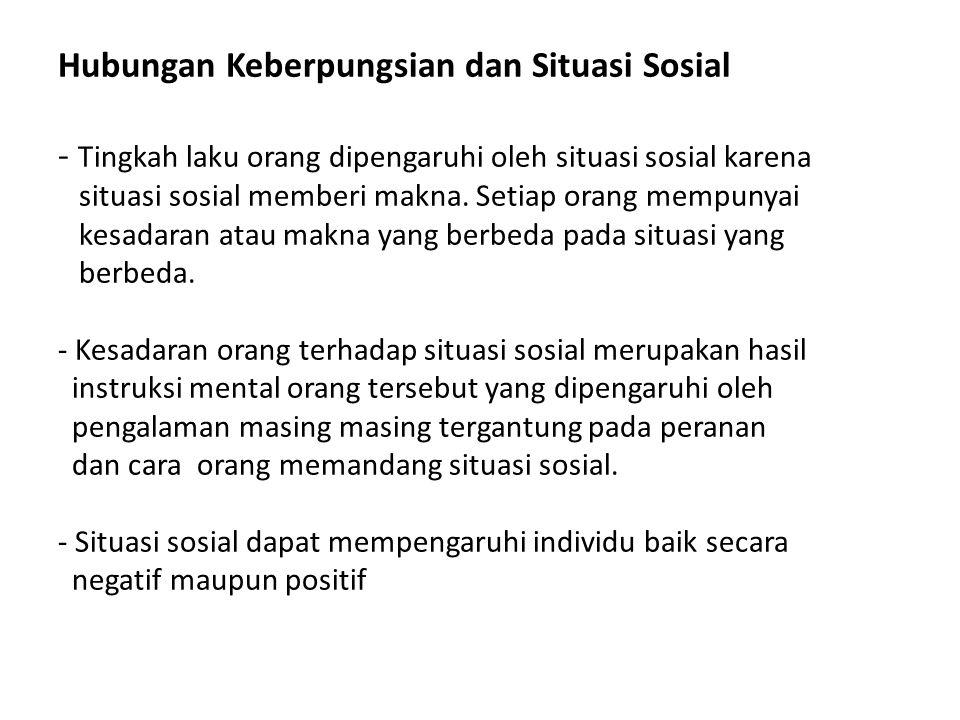 Hubungan Keberpungsian dan Situasi Sosial - Tingkah laku orang dipengaruhi oleh situasi sosial karena situasi sosial memberi makna.
