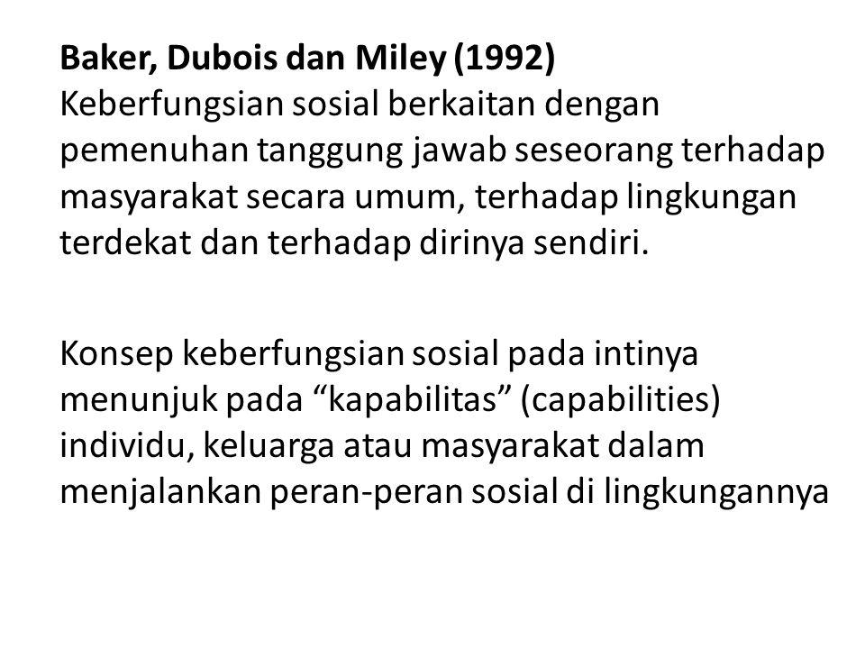 Baker, Dubois dan Miley (1992) Keberfungsian sosial berkaitan dengan pemenuhan tanggung jawab seseorang terhadap masyarakat secara umum, terhadap lingkungan terdekat dan terhadap dirinya sendiri.