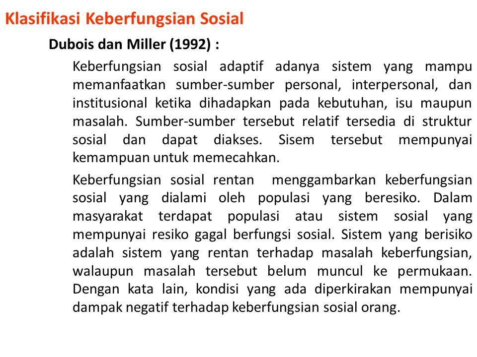 Klasifikasi Keberfungsian Sosial