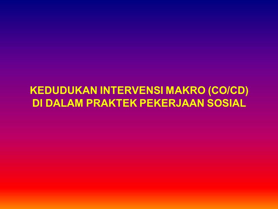 KEDUDUKAN INTERVENSI MAKRO (CO/CD) DI DALAM PRAKTEK PEKERJAAN SOSIAL