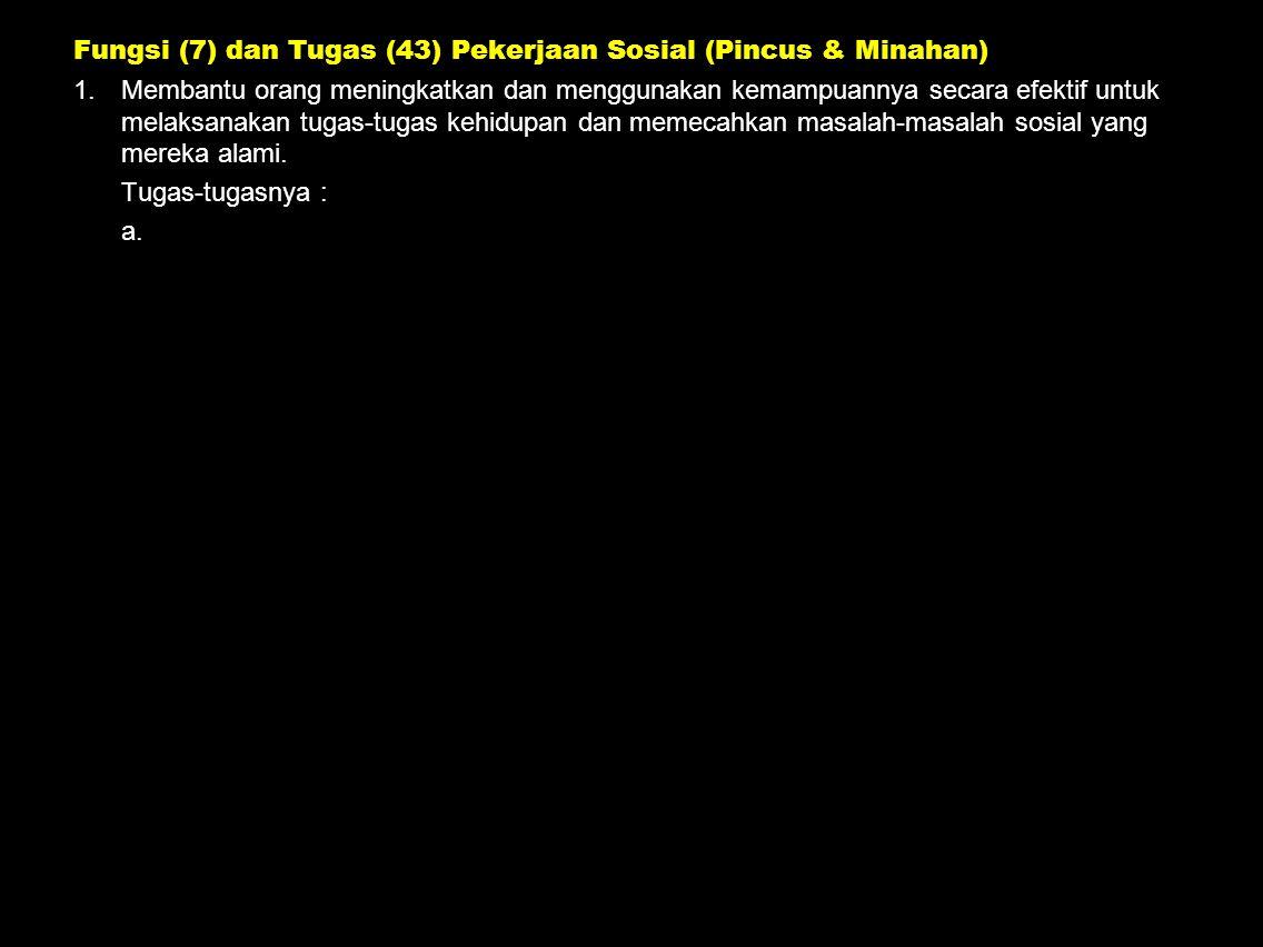Fungsi (7) dan Tugas (43) Pekerjaan Sosial (Pincus & Minahan)