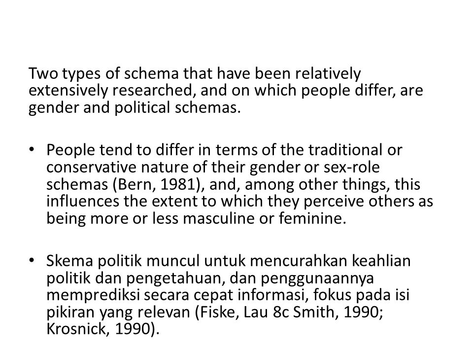 Two types of schema that have been relatively extensively researched, and on which people differ, are gender and political schemas.
