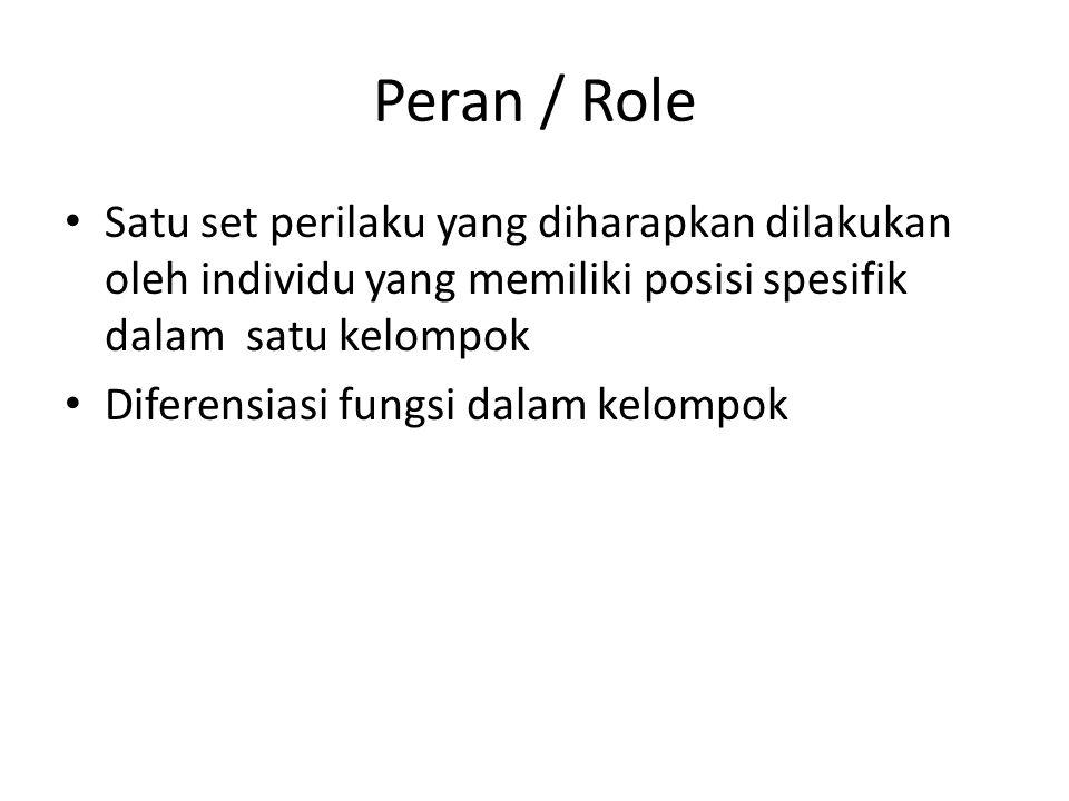 Peran / Role Satu set perilaku yang diharapkan dilakukan oleh individu yang memiliki posisi spesifik dalam satu kelompok.