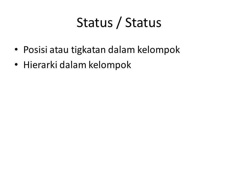 Status / Status Posisi atau tigkatan dalam kelompok