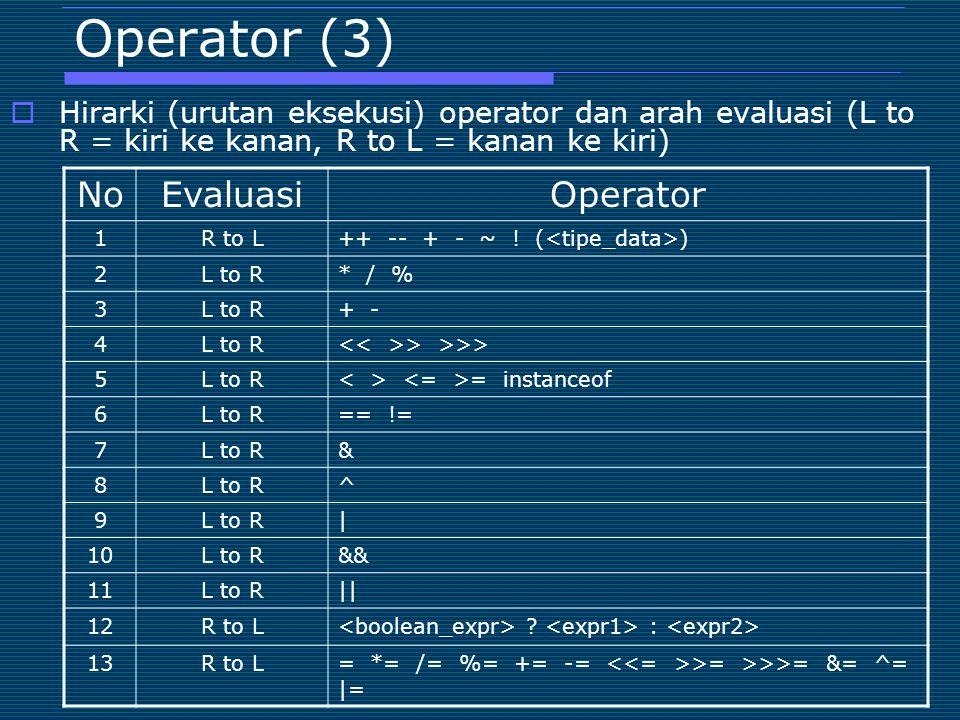 Operator (3) No Evaluasi Operator