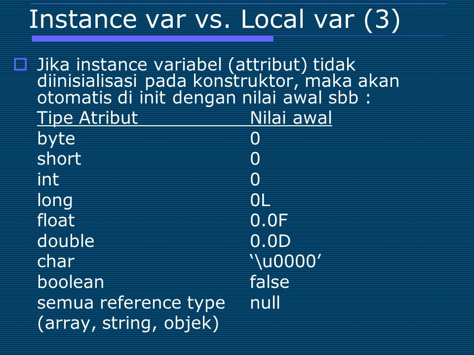 Instance var vs. Local var (3)