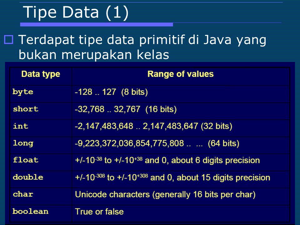 Tipe Data (1) Terdapat tipe data primitif di Java yang bukan merupakan kelas