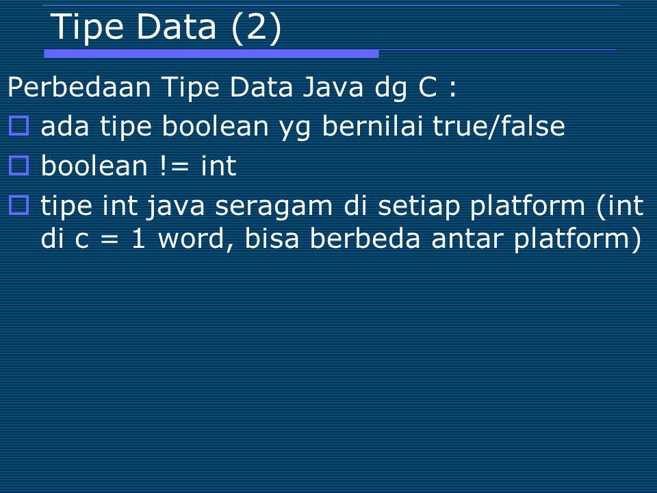 Tipe Data (2) Perbedaan Tipe Data Java dg C :