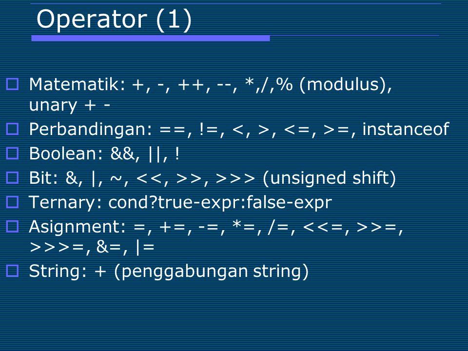 Operator (1) Matematik: +, -, ++, --, *,/,% (modulus), unary + -