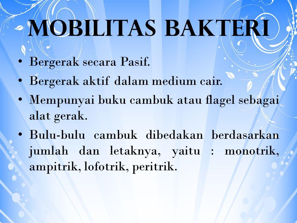 Mobilitas Bakteri Bergerak secara Pasif.