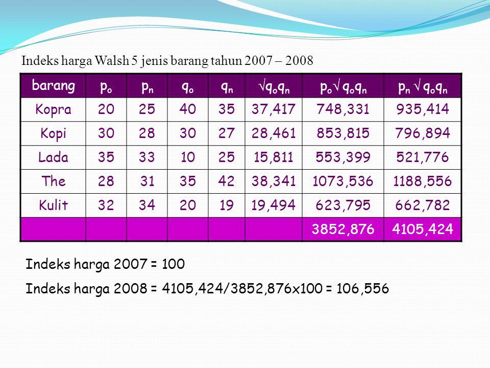 Indeks harga Walsh 5 jenis barang tahun 2007 – 2008
