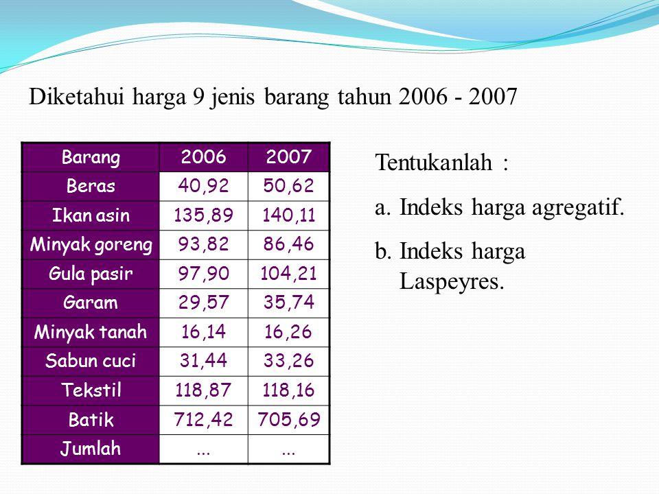 Diketahui harga 9 jenis barang tahun 2006 - 2007