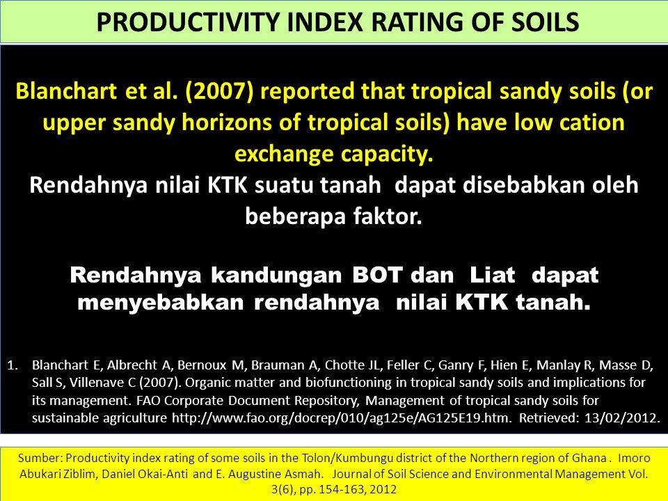 Rendahnya nilai KTK suatu tanah dapat disebabkan oleh beberapa faktor.