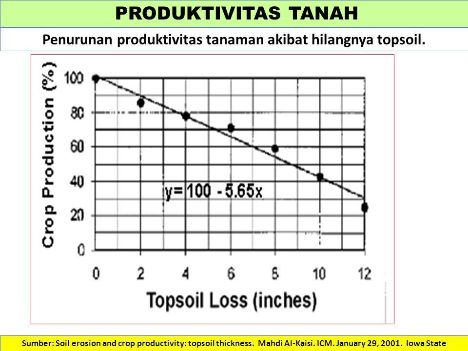 Penurunan produktivitas tanaman akibat hilangnya topsoil.
