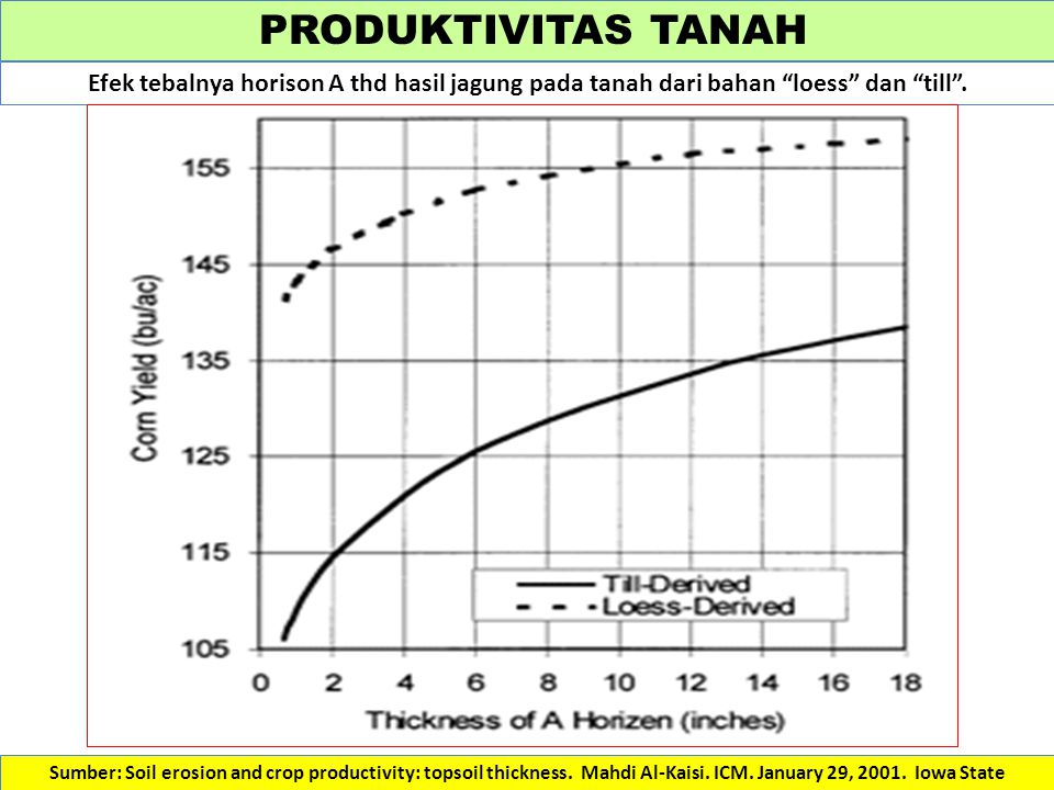 PRODUKTIVITAS TANAH Efek tebalnya horison A thd hasil jagung pada tanah dari bahan loess dan till .
