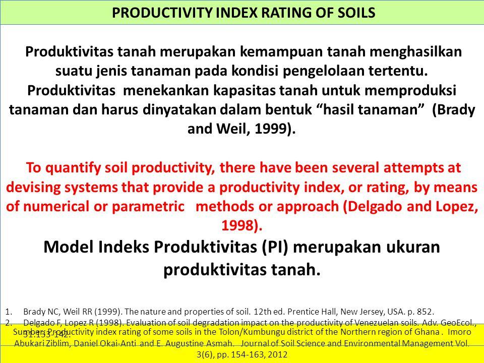Model Indeks Produktivitas (PI) merupakan ukuran produktivitas tanah.