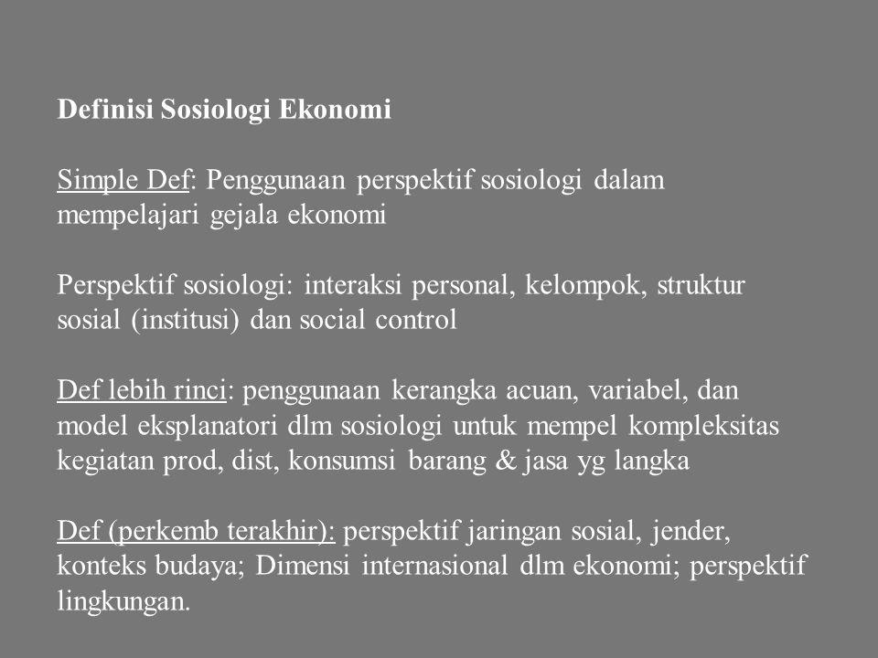 Definisi Sosiologi Ekonomi
