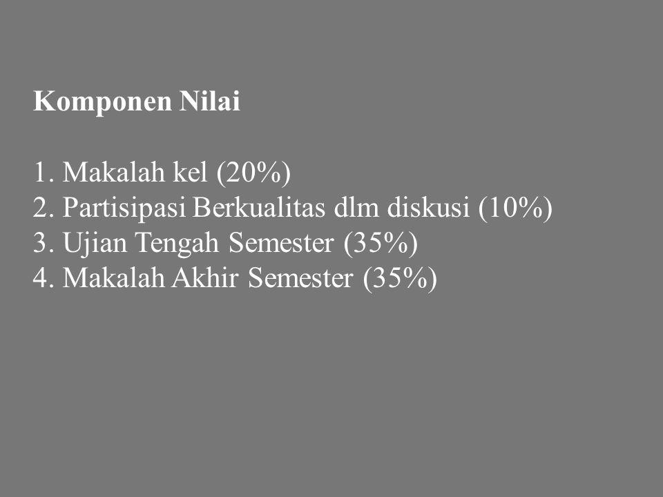 Komponen Nilai 1. Makalah kel (20%) 2. Partisipasi Berkualitas dlm diskusi (10%) 3. Ujian Tengah Semester (35%)